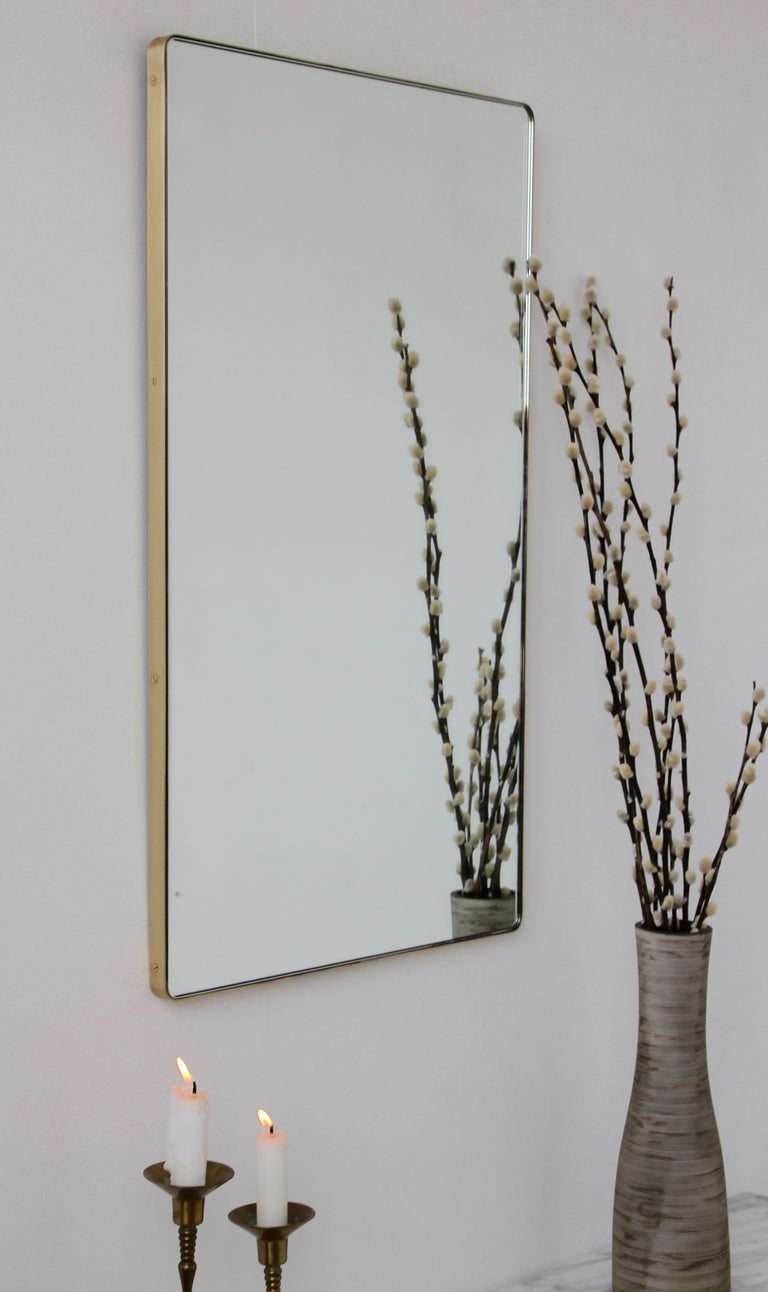 Modern Silver Quadris Rectangular Wall Mirror with Brass Frame In New Condition For Sale In London, GB
