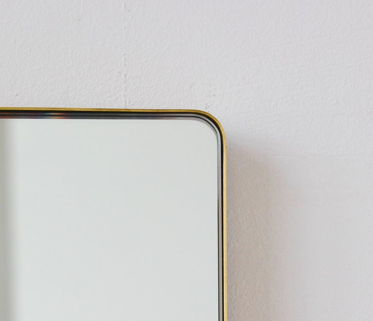 Modern Silver Quadris Rectangular Wall Mirror with Brass Frame For Sale 1