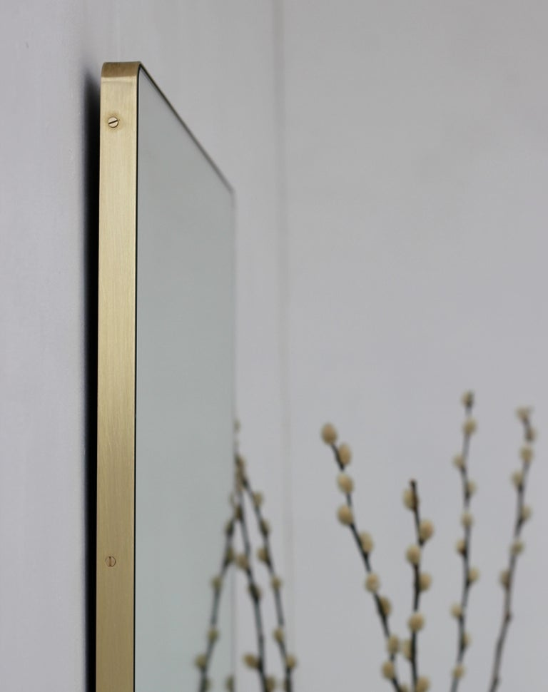 Modern Silver Quadris Rectangular Wall Mirror with Brass Frame For Sale 2
