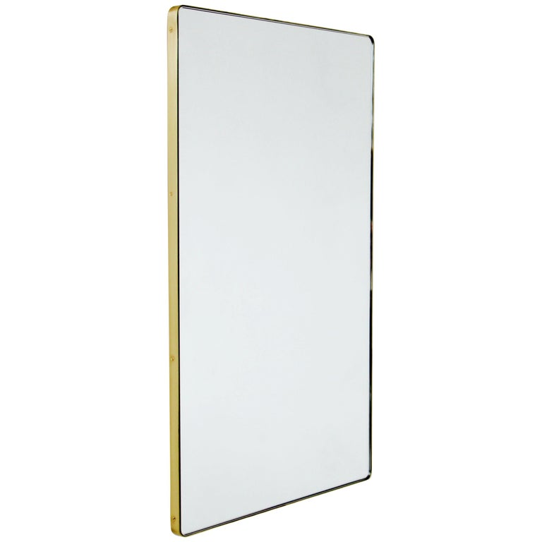 Modern Silver Quadris Rectangular Wall Mirror with Brass Frame For Sale