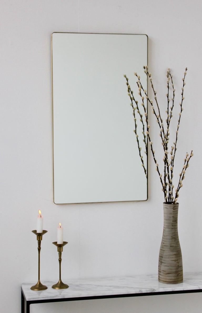British Quadris™ Rectangular Modern Mirror with Brass Frame