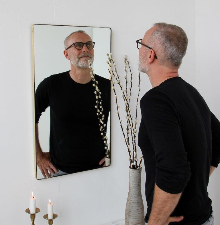 Contemporary Quadris™ Rectangular Modern Mirror with Brass Frame