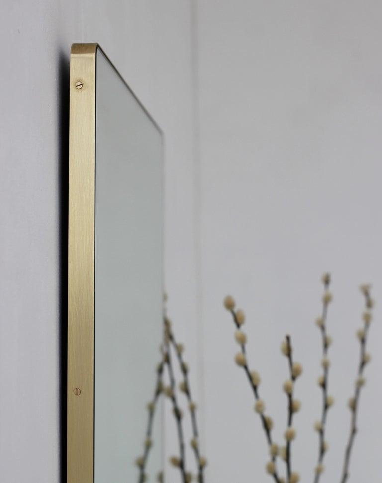 Quadris™ Rectangular Modern Mirror with Brass Frame 2