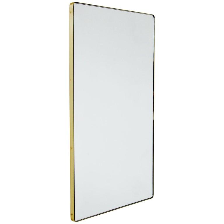 Quadris™ Rectangular Modern Mirror with Brass Frame