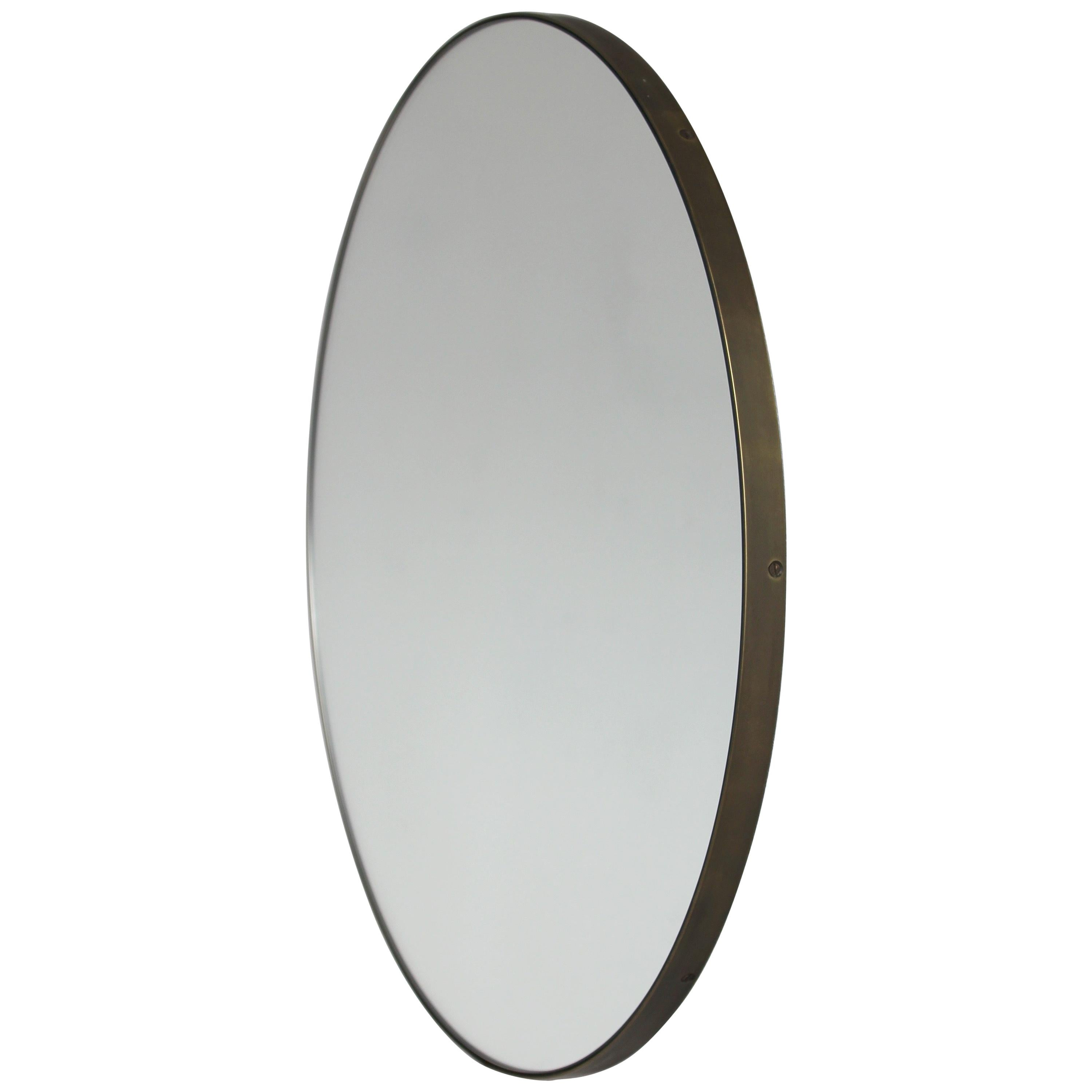 Orbis™ Round Art Deco Mirror with Brass Frame with Bronze Patina - Small