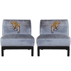 Modern Pair Silver Velvet & Walnut Slipper Lounge Chairs with Tiger Embroidery