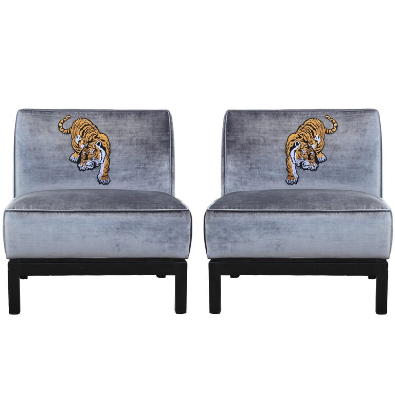 Modern Pair Silver Velvet & Walnut Slipper Lounge Chairs with Tiger Embroidery For Sale