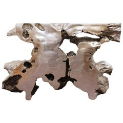 Modern Silvered Cast Resin Tree Trunk Console