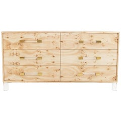 Modern Six-Drawer Dresser Burl Wood Lucite Legs with Lucite and Brass Hardware