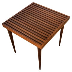 Modern Slat Wood End or Side Table by Mel Smilow