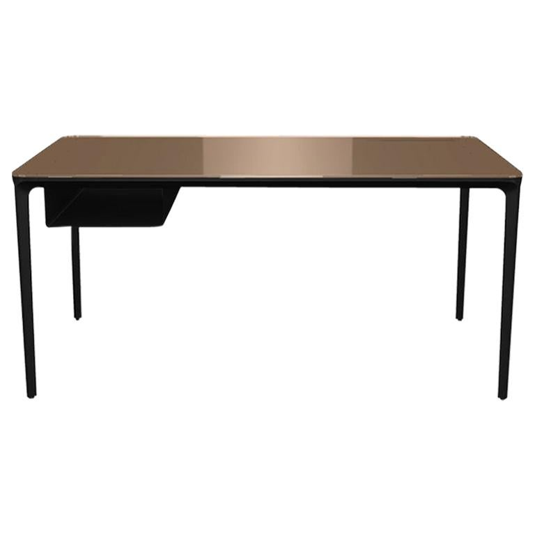 Modern Small Desk with Brown Lacquered Glass Top and Black Frame, Made in Italy