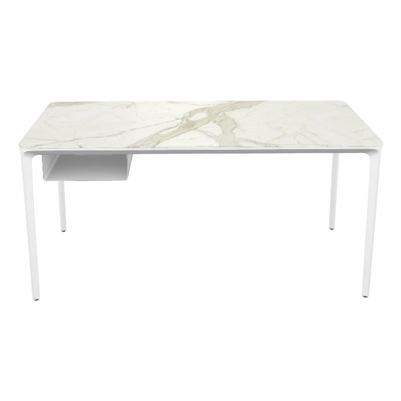 Modern Small Desk with Calacatta Ceramic Top and White Frame, Made in Italy