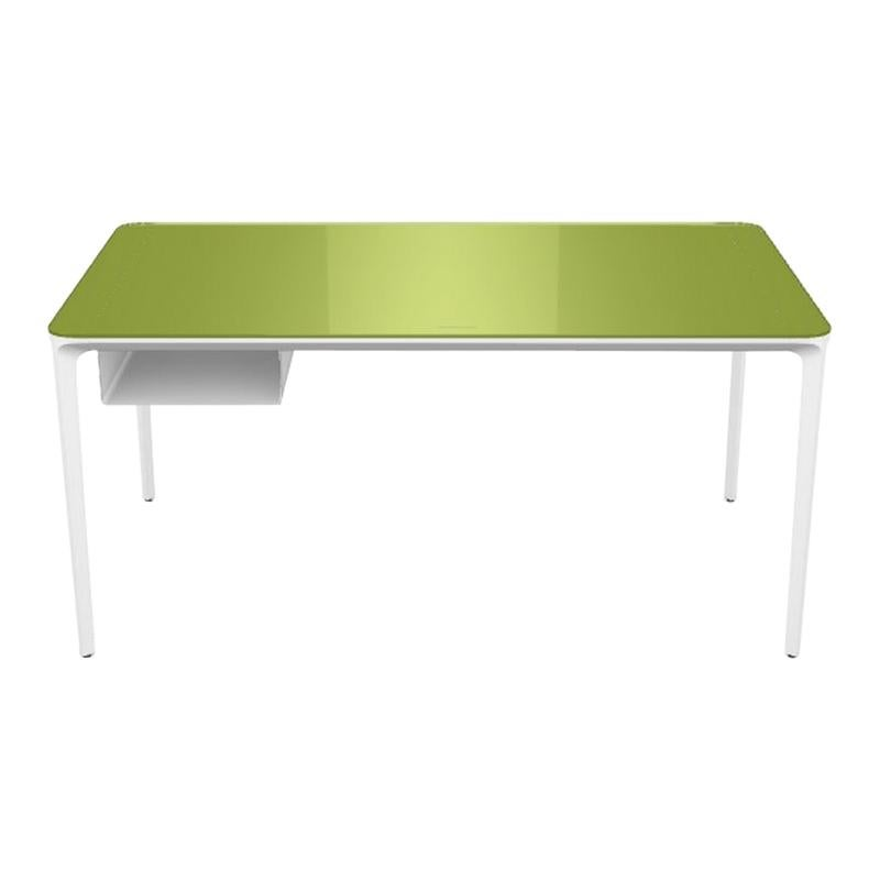 Modern Small Desk with Green Lacquered Glass Top and White Frame, Made in Italy