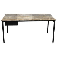 Modern Small Desk with Grey Onyx Top and Black Frame, Made in Italy