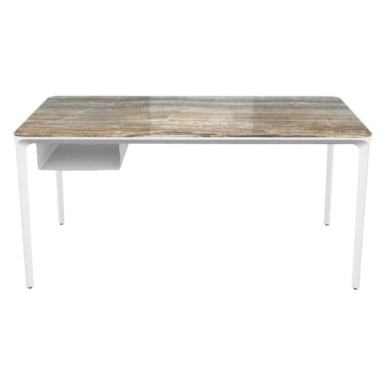 Modern Small Desk with Grey Onyx Top and White Frame, Made in Italy