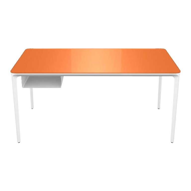 Modern Small Desk with Orange Lacquered Glass Top and White Frame, Made in Italy For Sale