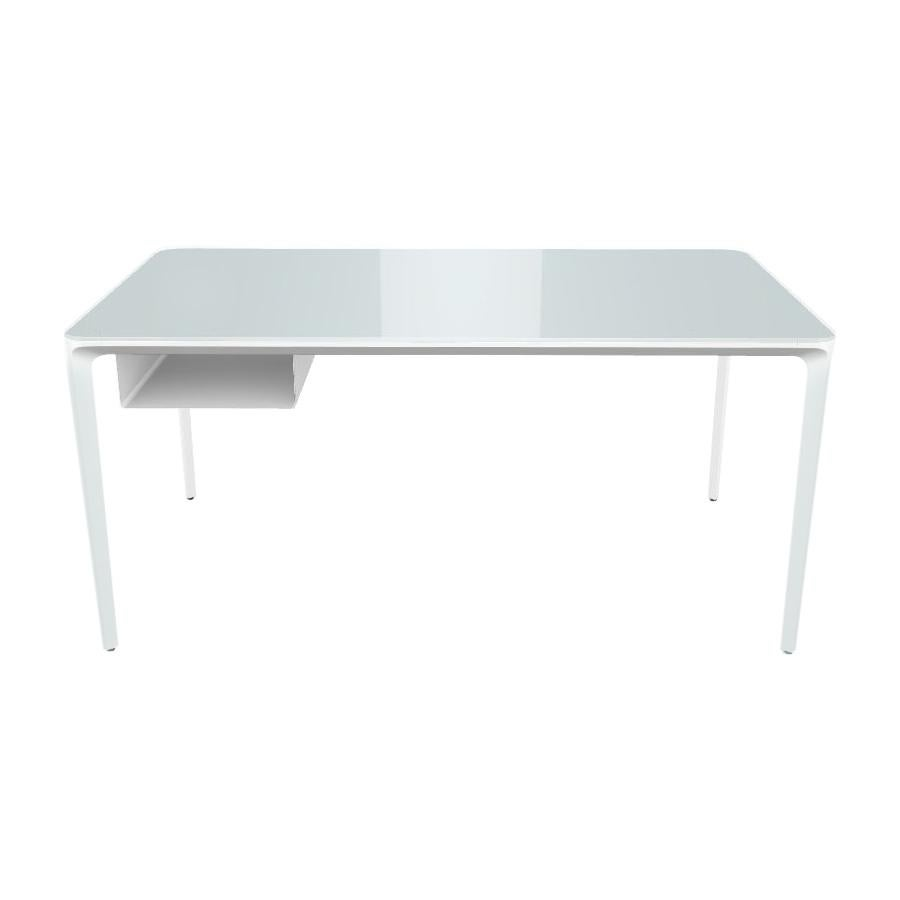 Modern Small Desk with White Lacquered Glass Top and White Frame, Made in Italy