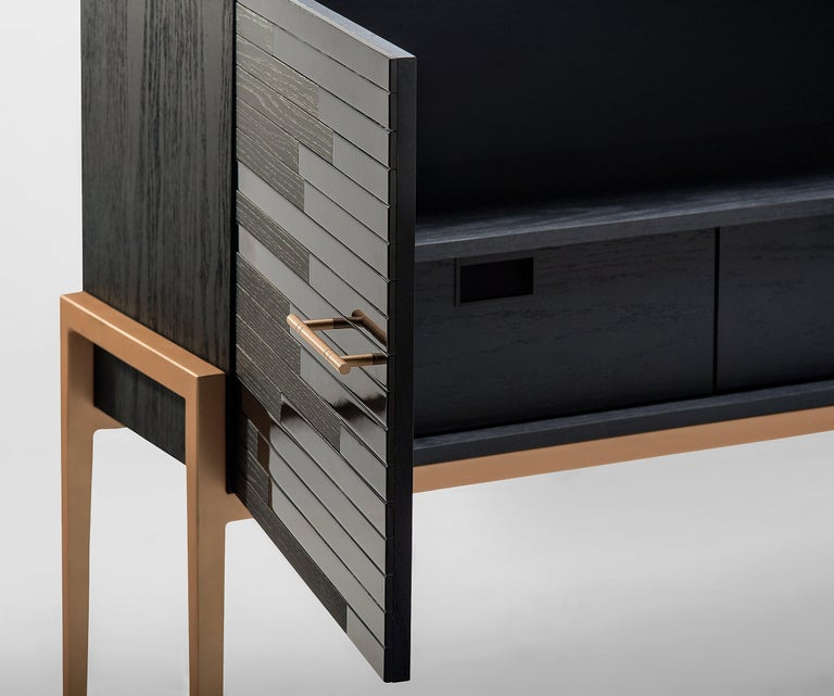 Veneer Modern Small Cabinet for Living Room in Black Lacquer and Black Oak For Sale
