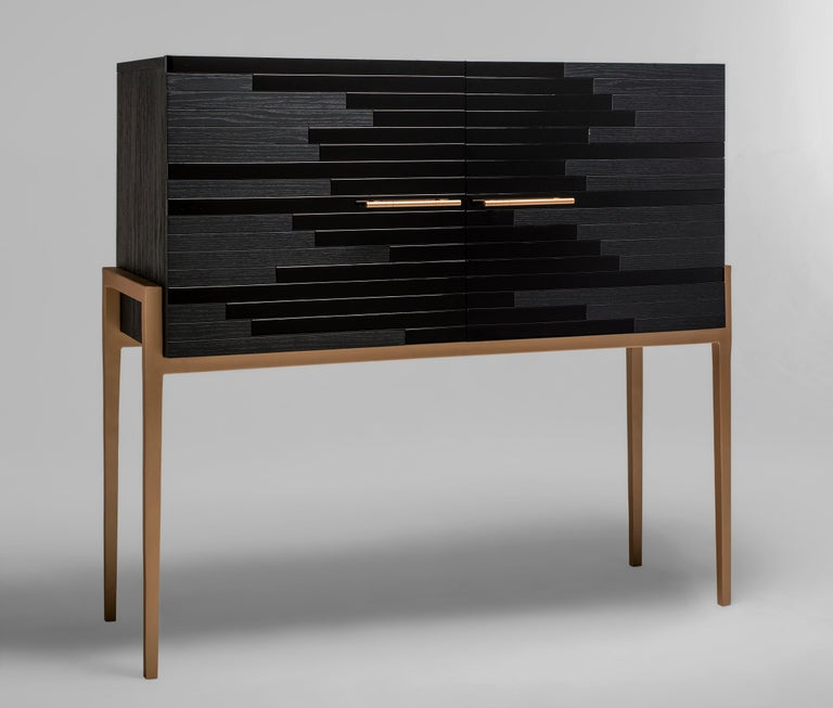 Modern Small Cabinet for Living Room in Black Lacquer and Black Oak For Sale 1