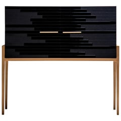 Modern Small Cabinet for Living Room in Black Lacquer and Black Oak