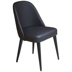 Modern Smokey Black Faux Leather Fabric Dining Chair with Oak Base Painted Black