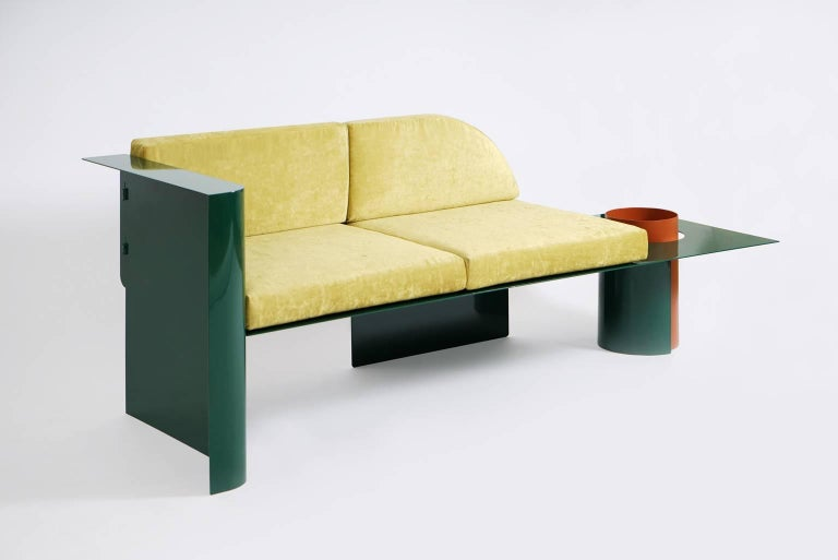 European Modern Sofa in Powder-Coated Steel with Planter Side Table