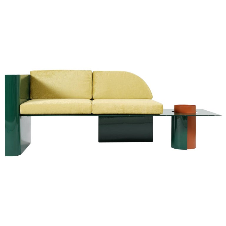 "Modern Sofa in Powder-Coated Steel with Planter Side Table ""Disused Collection"" For Sale"
