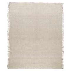 Modern Solid Beige Flat-Weave Wool Rug