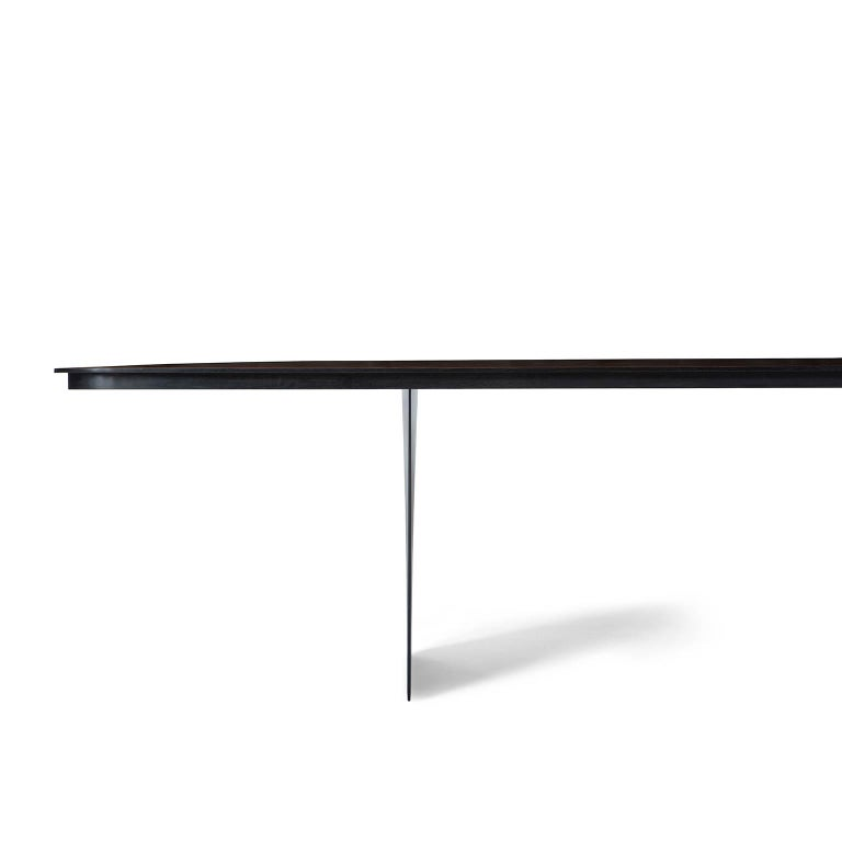 Slovenian Modern Carbon Claro Table with Walnut Top and thin Carbon Fiber Legs by Tokio. For Sale