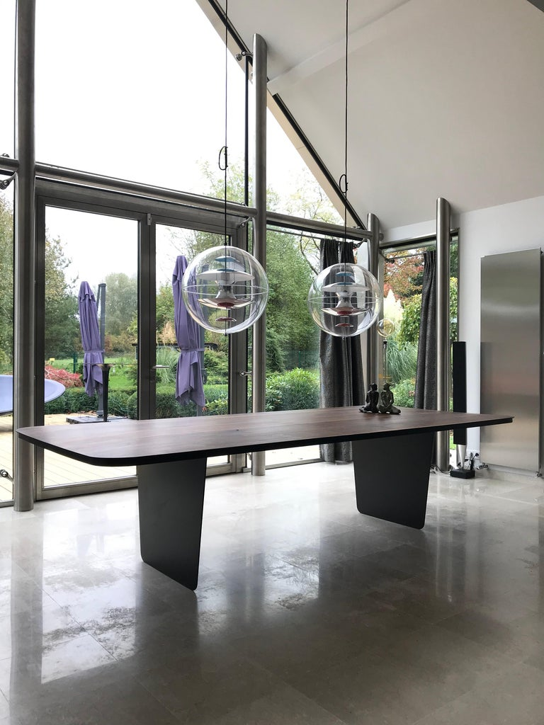 Modern Carbon Claro Table with Walnut Top and thin Carbon Fiber Legs by Tokio. For Sale 1