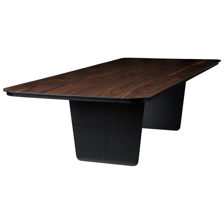 Modern Carbon Claro Table with Walnut Top and thin Carbon Fiber Legs by Tokio. For Sale