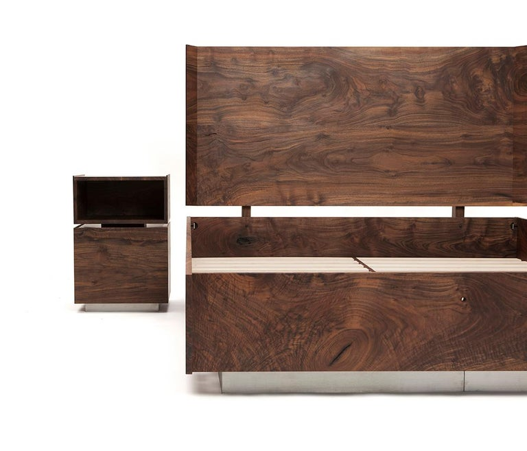 Minimal detailing paired with gorgeous hand selected solid Claro walnut lumber, a recessed brushed stainless steel base, tightly spaced hard maple slats, and sculpted headboard pillars make the shear bed both incredibly comfortable and aesthetically