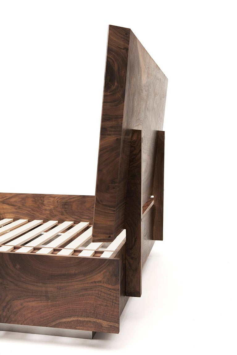 American Modern Solid Claro Walnut and Stainless Steel King Sized Shear Bed For Sale