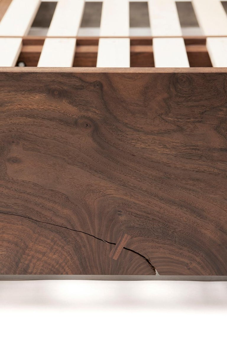 Modern Solid Claro Walnut and Stainless Steel King Sized Shear Bed In New Condition For Sale In Santa Monica, CA