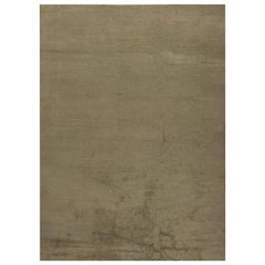 Modern Solid Dark Chocolate Hand Knotted Wool and Silk Rug