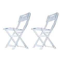 Modern Solid Lucite Acrylic Folding Dining Chair Set, circa 1980s