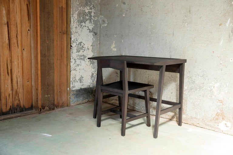 Modern Solid Oak Chair with Black Oil Finish for Dining / Writing Height Seating In New Condition For Sale In Birmingham, AL