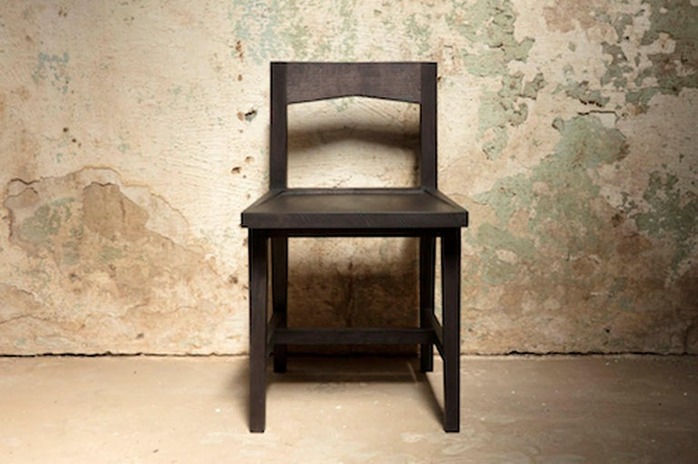 Contemporary Modern Solid Oak Chair with Black Oil Finish for Dining / Writing Height Seating For Sale