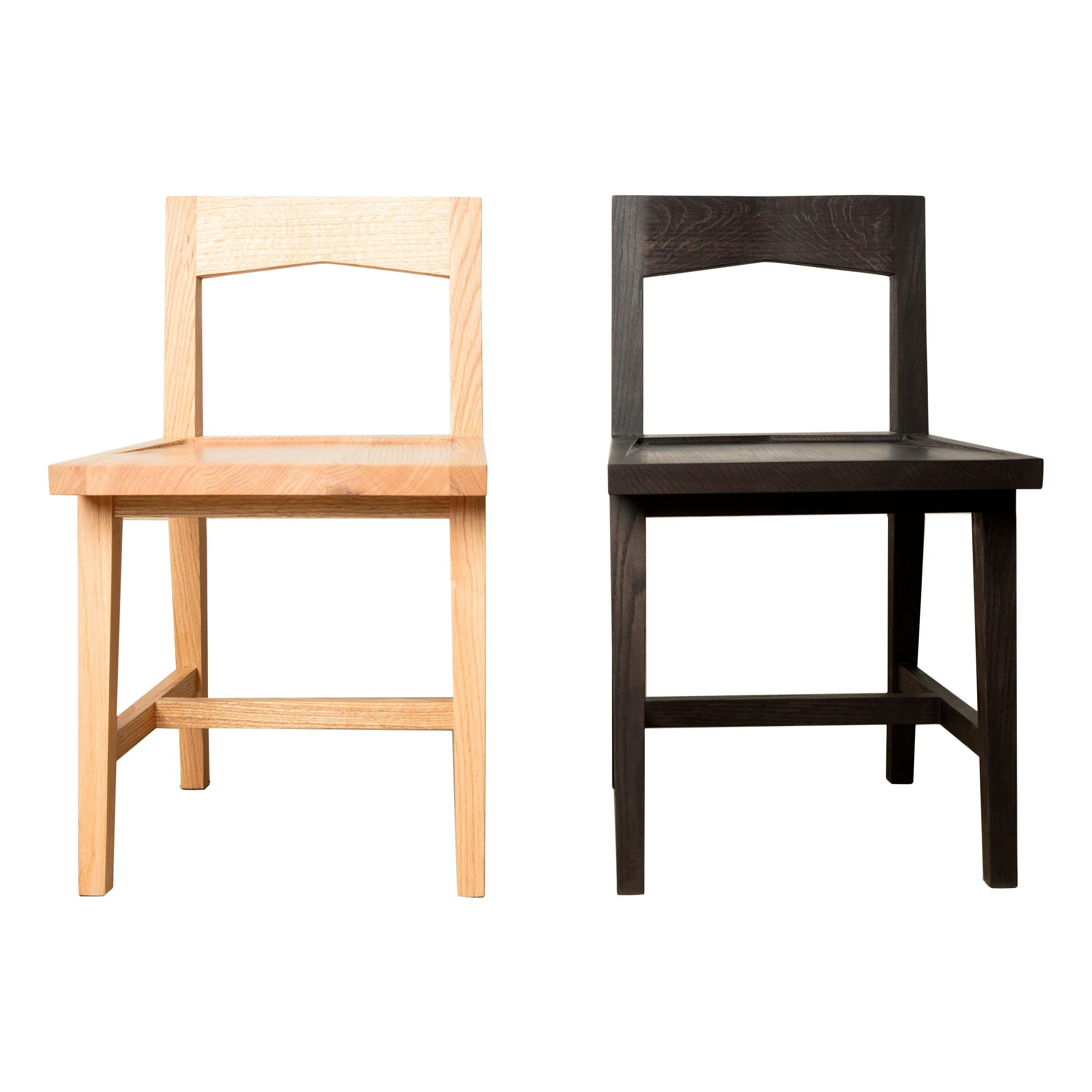 Modern Solid Oak Chair with Clear Oil Finish for Dining / Writing Height Seating