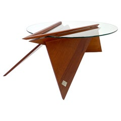 Modern Solid Wood and Glass Cocktail Table by Pierre Sarkis