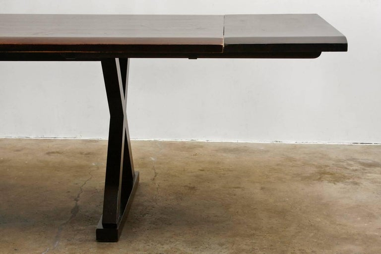 Modern Solid Wood Trestle Dining Table With X Base Legs At 1stdibs