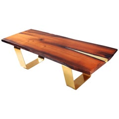 Modern Solid Wooden Coffee Table with Brass Inlay and Brass Legs