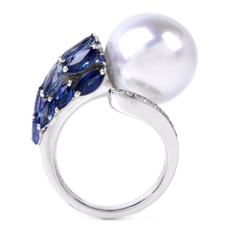 Modern South Sea Pearl Marquise Sapphire Diamond Cocktail