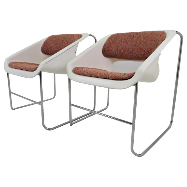 Modern Space Age 2 Lotus Stackable Chairs by Paul Boulva for Artopex Canada 1976 For Sale