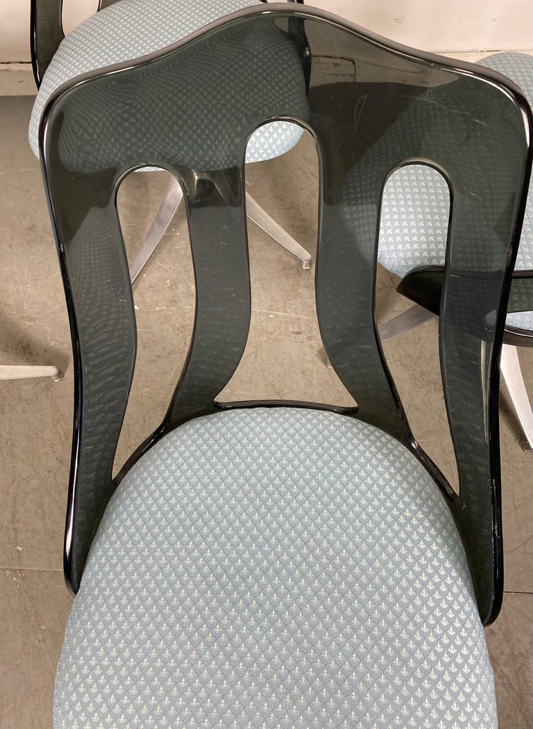 Modern Space Age Smoke Lucite and Chrome Dining Chairs by Howell / Interlake For Sale 4