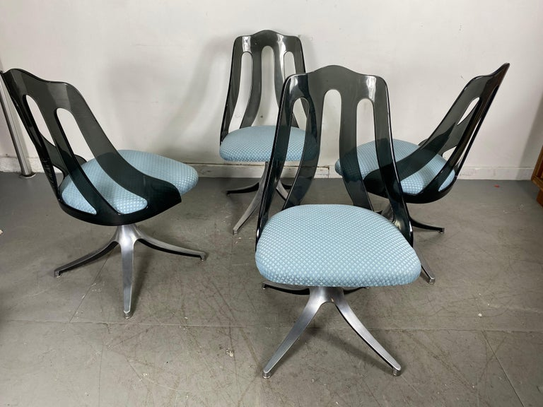 North American Modern Space Age Smoke Lucite and Chrome Dining Chairs by Howell / Interlake For Sale