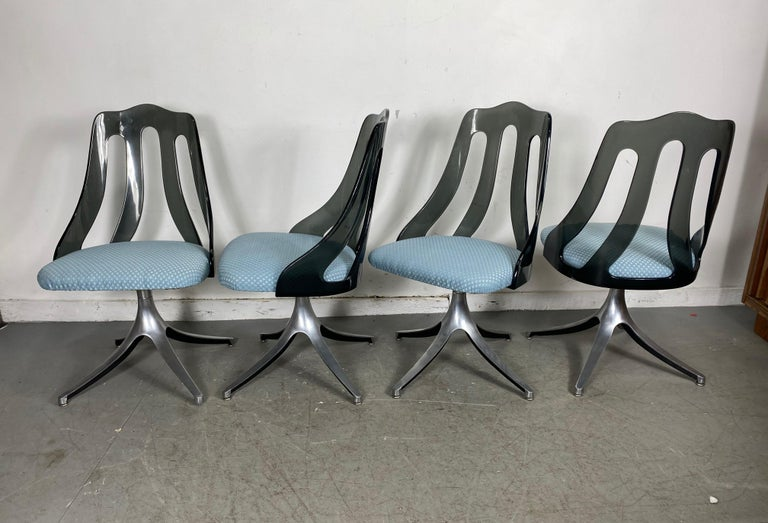 Mid-20th Century Modern Space Age Smoke Lucite and Chrome Dining Chairs by Howell / Interlake For Sale