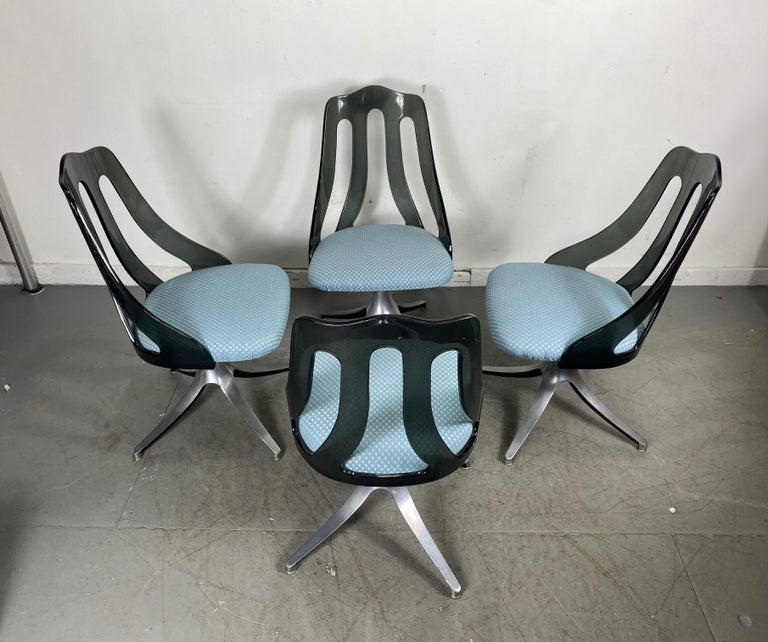 Fabric Modern Space Age Smoke Lucite and Chrome Dining Chairs by Howell / Interlake For Sale
