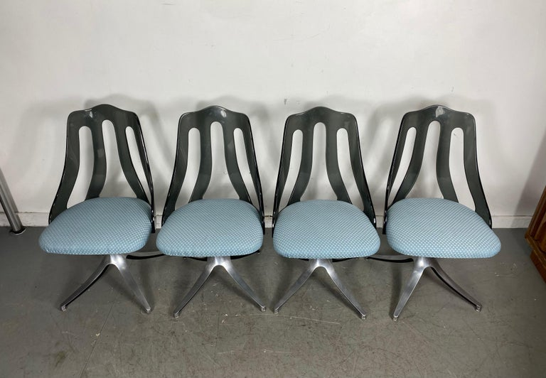 Modern Space Age Smoke Lucite and Chrome Dining Chairs by Howell / Interlake For Sale 2