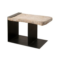 Modern Spanish Butcher Block and Iron Coffee Table